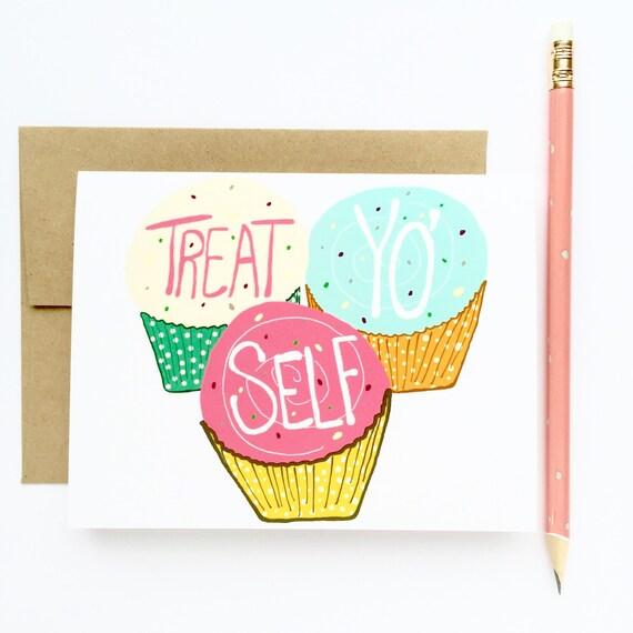 Funny birthday card treat yo self day birthday card for etsy image 0 m4hsunfo