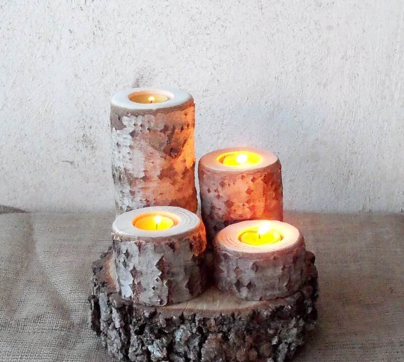 4 Wood Candle Holders Log White Tree