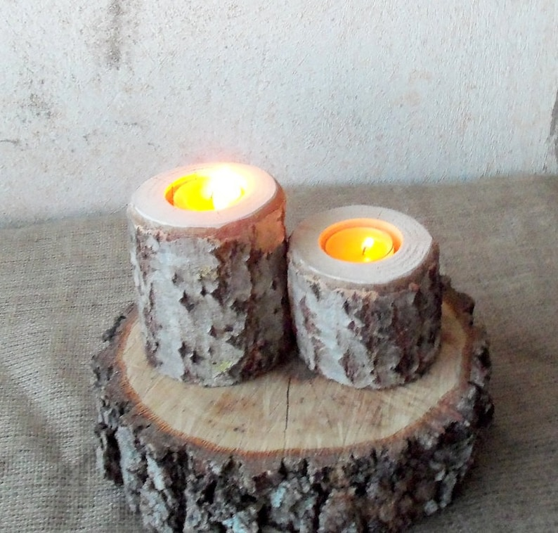 2 Wood Candle Holders Table Centerpiece Log