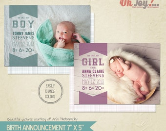 INSTANT DOWNLOAD -  Birth announcement card photoshop template 5x7 - BA109