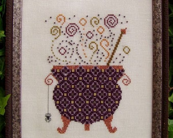 Halloween Cross Stitch Instant Download PDF Pattern Witch's Brew Counted Embroidery Design Cauldron Potion Whimsical X Stitch DIY Home Decor