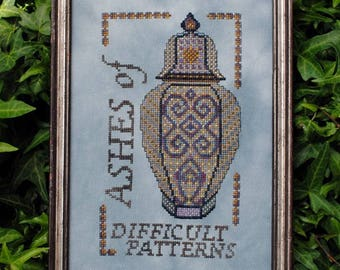 "Cross Stitch Instant Download Pattern ""Ashes of Difficult Patterns"" Counted Embroidery Chart Ornamental Design Sampler Motto X Stitch Design"