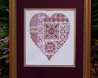 "Cross Stitch Instant Download Pattern ""Deepest Love"" Counted Embroidery Chart. Heart Sampler. Ornamental Design Valentine's Romance X Stitch"