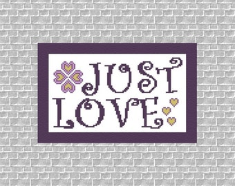 Whimsical Beginner Cross Stitch Pattern Instant Download PDF Just Love Counted Embroidery Hoop Art X Stitch Valentine's Motto DIY Home Decor