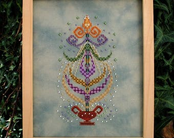 """Cross Stitch Instant Download Pattern """"Spring Dance"""" Counted Embroidery Chart. Spring Ornamental Design. X Stitch. DIY Home Decor"""