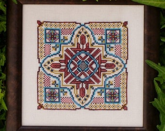Mandala Cross Stitch Instant Download Venetian Lagoon! Counted Embroidery Chart. Ornamental Tile Design. Mini Mandala Geometric. X Stitch.