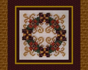 Christmas Cross Stitch Ornament Instant Download PDF Pattern Ornamental Wreath Holidays Counted Embroidery Design Geometric Mandala X Stitch