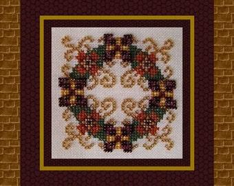 Christmas Cross Stitch Ornament Instant Download PDF Pattern Ornamental Wreath Holidays Counted Embroidery Design Geometric Mandala X Stitch