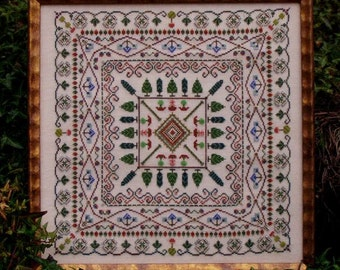 Cross Stitch Garden Sampler Mandala Instant Download Pattern Whispering Grounds! Counted Embroidery Chart. Ornamental Garden Design X stitch