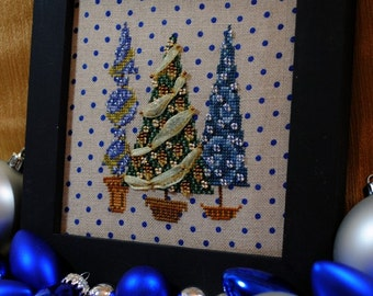 """Christmas Cross Stitch Instant Download PDF Holiday Design """"Tree Trio"""" Counted Embroidery Chart X Stitch Pattern Yule X Mas Noel  Holidays"""