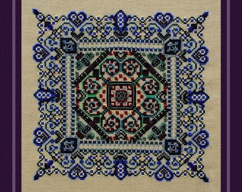 Cross Stitch Instant Download PDF Mandala Pattern Lovers' Garden! Counted Embroidery Chart. Romantic Ornamental Elegant Beaded X Stitch.