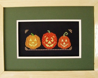 Halloween Cross Stitch Instant Download PDF Pattern Pumpkin Trio Counted Embroidery Design Whimsical Autumn Fall October X Stitch. DIY Decor