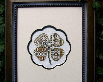 "Cross Stitch Instant Download Pattern ""Rare Clover"" Counted Embroidery Chart. Clover Design. St Patrick's. Ornamental. Beginner X Stitch."
