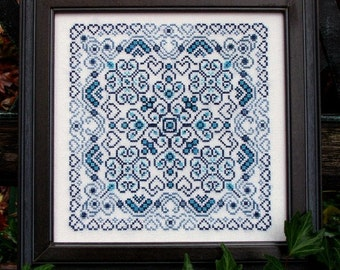Valentine Cross Stitch Instant Download Blue Romance! Counted Embroidery Chart Blue Swirls Sea Waves Romantic Ornamental Mandala X Stitch.