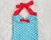 Aqua Red polka dot Retro one piece girls swimsuit sizes 2-12