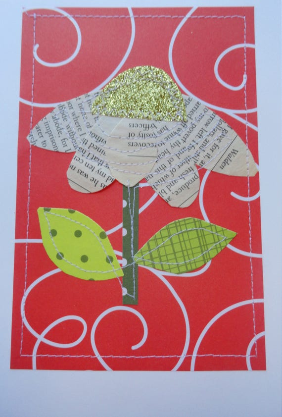 Flowers Flowers Flowers Mixed Media Paperfabric Cards Etsy