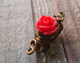 Dread Bead, Loc Bead, Dreadlock Bead, Rose Hair Bead, Rose Loc Bead, Red Rose, Red Rose Jewelry, Hair Accessories,Heatherfish Creatiions