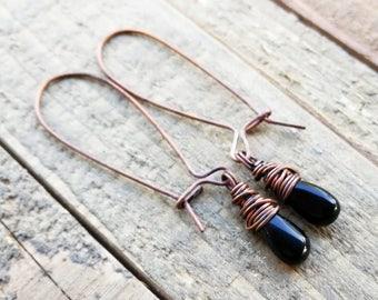 Black Onyx Earrings, Onyx Copper Earrings, Black Earrings, Oxidized Copper, Kidney Earwires, Crystal Earrings, Stone Earrings, Boho