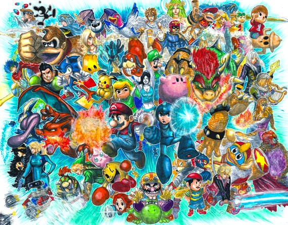 super smash bros for 3ds and wii u giant roster poster etsy
