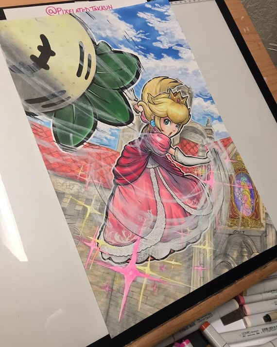 Original Painting Princess Peach Smash Series