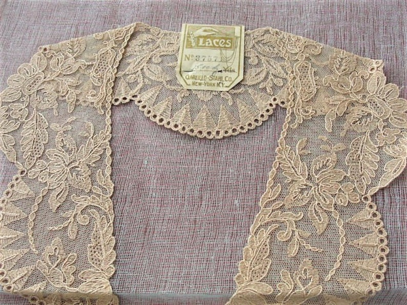 1920s antique deco french netted lace embroidered lace collar etsy