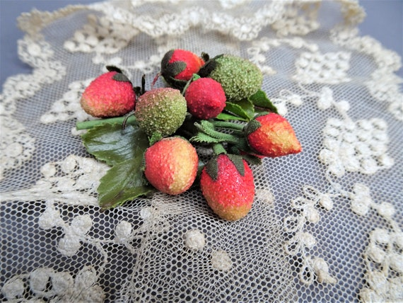 CHARMING Antique Sugared Millinery Fruit Berries,V