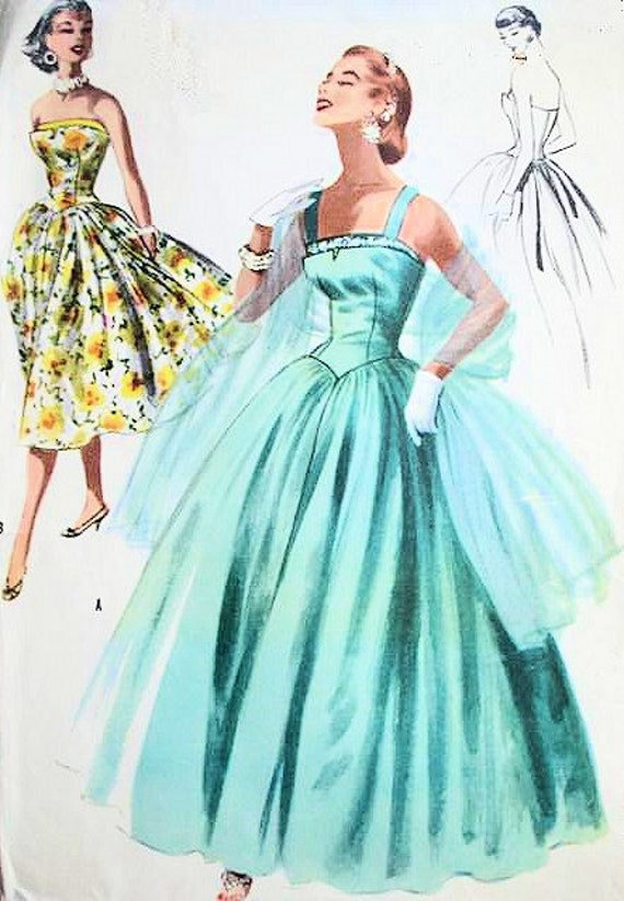 1950s Mccalls 3399 Evening Party Dress Pattern Formal