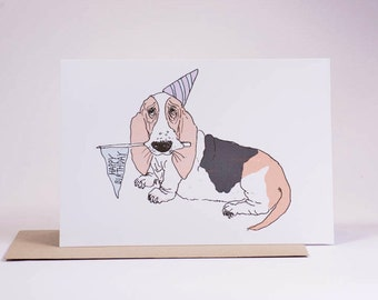 Birthday Basset Hound// Vintage Style Illustrated// Recycled Card