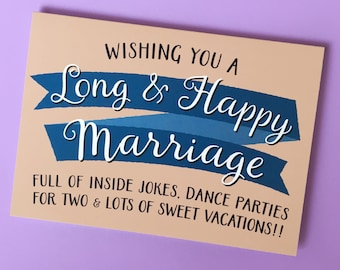 wishing you a long and happy marriage card funny wedding card bridal shower card card for bride hen party card engagement card