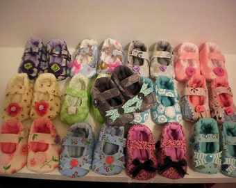 SALE! Baby Mary Janes fabric shoes size 6-9 mos.