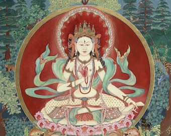 Parvati, Para, LARGER SIZES  Mother Goddess, Maha Lakshmi, Devotional art, Healing Space Buddhism, Spiritual art, Nepalese Hindu Tibetan Art