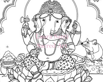 Ganesh Adult coloring page downloadable coloring elephant Hindu deity Kavish Ganesha