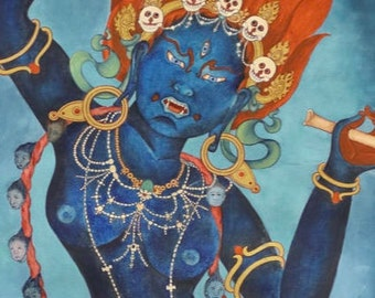 Chod Goddess Troma Nagmo Kali  LARGER SIZE Crops from full thangka  Mahavidya goddess, Tibetan Buddhist deity, Thangka mantra, Queen of spac