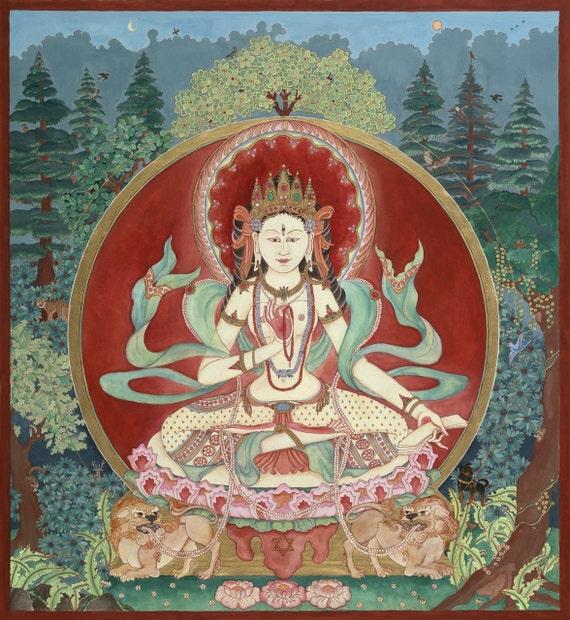Parvati, Para, the Mother Goddess, Maha Lakshmi, Devotional art, Healing  Space art, Buddhism, Spiritual art, Nepalese Hindu Tibetan Art