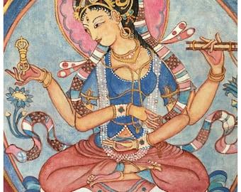 Prajnaparamita B, SMALL SIZE CROP Mother Goddess of Past, Present, Future, Dharma, Meditation, buddhism, incense, spiritual art, Himalayan