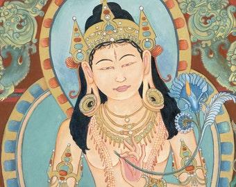 White Tara B LARGER SIZE PRINT Goddess Bodhisattva tantric deity tibetan buddhist thangka tangka thankga meditation devotional meditation
