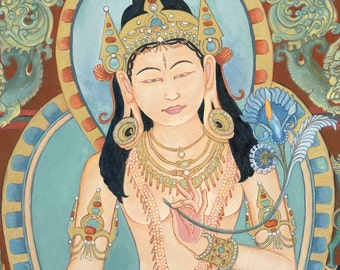 White Tara B SMALLER SIZES Goddess Bodhisattva tantric deity Tibetan Buddhist thangka tangka thankga meditation yoga sanctuary art