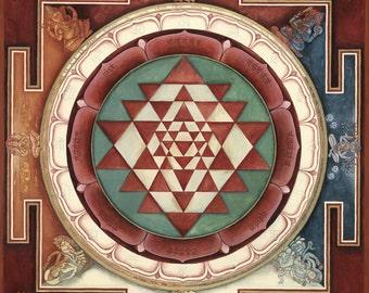 Sri Yantra: SMALL SIZES the Mandala of the goddess Lalita, Sri Shri Shree Yantra Siva, Shiva, lingum Shakta Tantric, Sri Vidya, Meditation