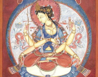 Prajnaparamita, SMALLER SIZES Mother Goddess of Past, Present, Future, Dharma, Meditation art, buddhism, incense, spiritual art, Himalayan
