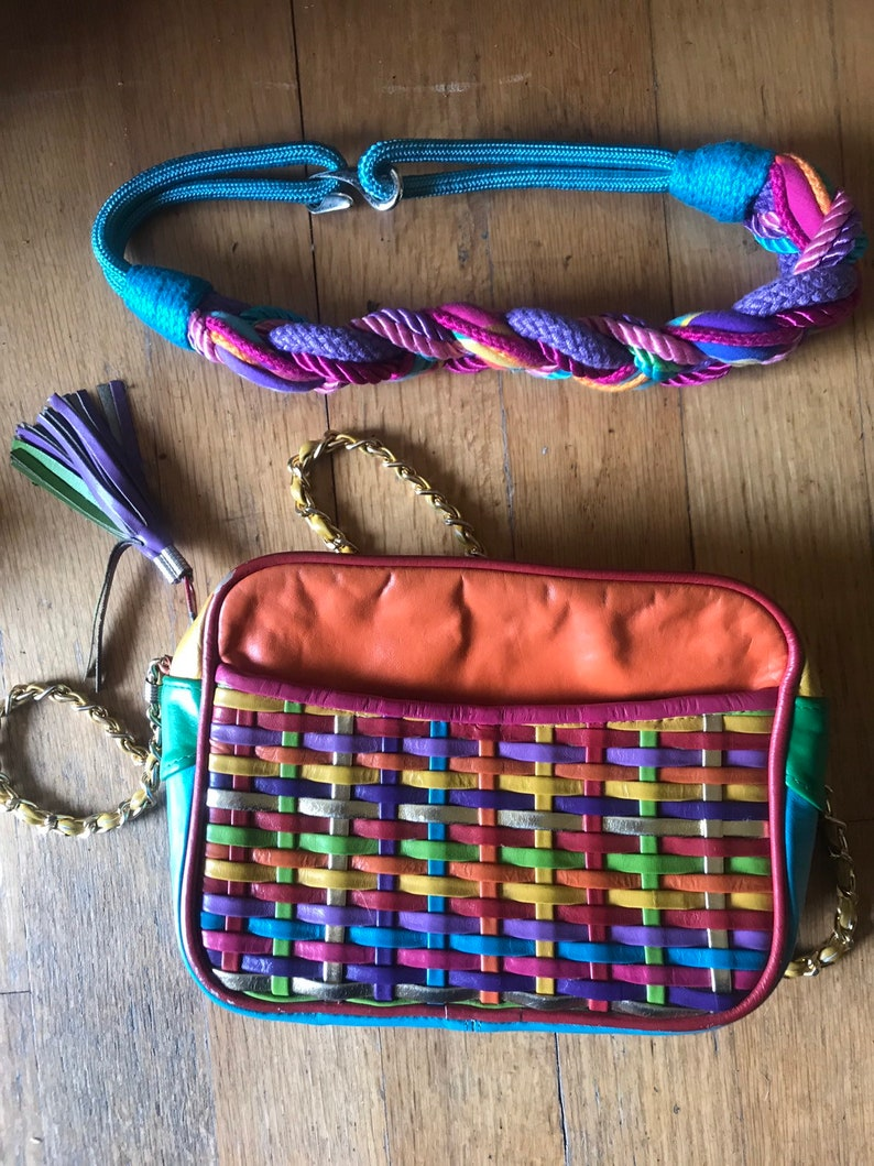 a49dc431c7 Vintage 80s womens colorful leather purse