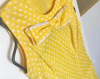 Polka Dot Dress 70s Style Tea Dress Swing Dress with Bow 70s Vintage Dress