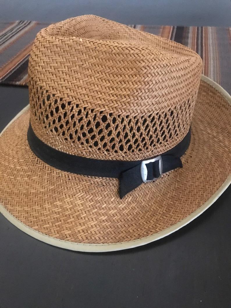 32fbc9ad2 Vintage Straw Hat, Summer Hat, Sun Hat, Panama Hat, Men or Women Hat, Straw  Hats, Unisex, Natural Straw,