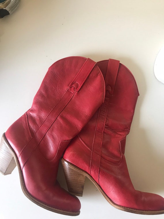 Red Leather Boots, Cowboy Boots, mid calve boot, W
