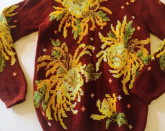 Vintage wool sweater, hand stitched and embroidered 100% wool sweater