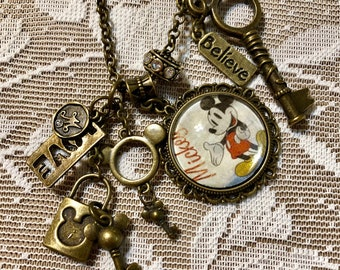 Mickey Mouse Vintage Picture, In Antique Bronze.  Pendant, Charm Necklace.
