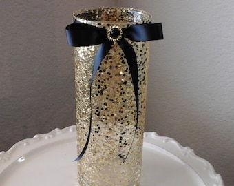 Gold 50th Birthday 50th  Aniversary vases centerpiece formal black and gold very glittery 9 inch vase  anniversary black tie affaire .