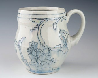 Handmade Porcelain Toile Pattern Mug with Luster Details