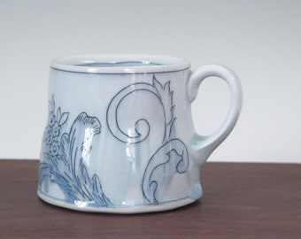 Handmade porcelain mug with floral toile de jouy pattern