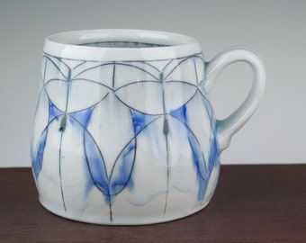 Large handmade porcelain mug with stained glass window inspired pattern