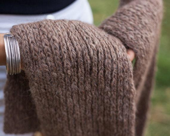 Brun épais grosse écharpe en tricot pur alpaga laine tricoté à   Etsy 7723b36fd27